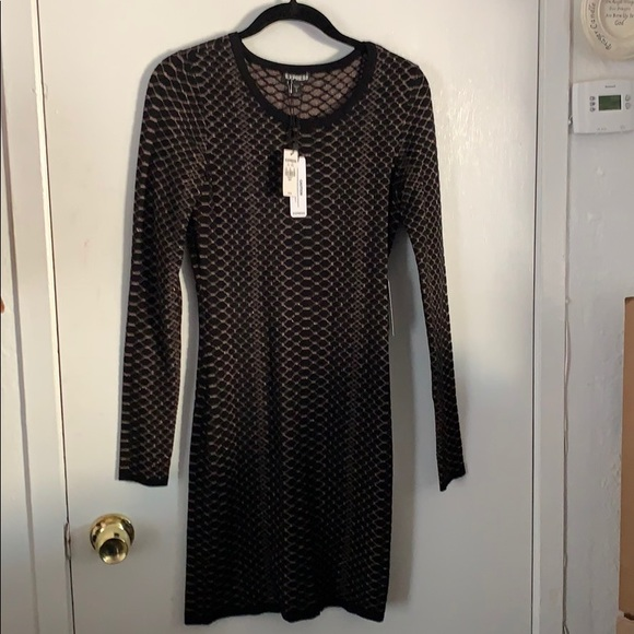Express Dresses & Skirts - Sweater dress black with gold print